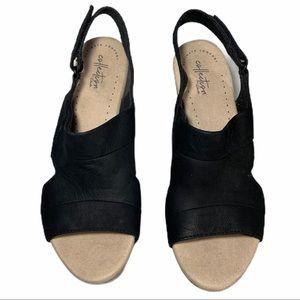 Clarks Shoes - Clark's Comfort Black Wedge Sandals Sz 10
